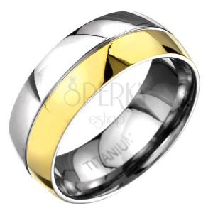 Pierścionek z tytanu - złoto-srebrna zaokrąglona obrączka z wygrawerowaną linią