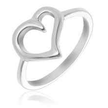 Pierścionek ze srebra 925 - kontur nieregularnego serca