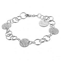 Srebrna bransoletka 925 - okrągłe zawieszki z motywem tygrysa