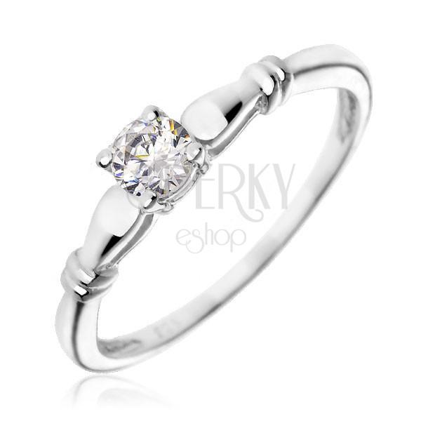 Srebrny pierścionek zaręczynowy 925 - przezroczysta cyrkonia, podwójne obręcze