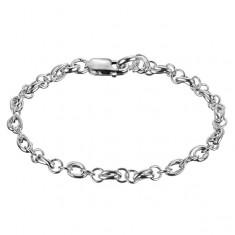 Srebrna bransoletka 925 - podwójny owal i dwa pierścienie