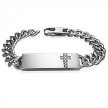 Stalowa bransoletka w stylu zegarka z bezbarwnym cyrkoniowym krzyżem na płytce