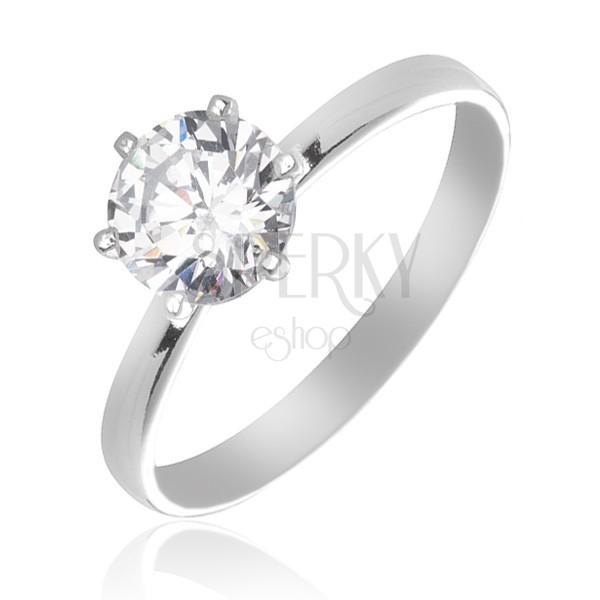 Srebrny pierścionek zaręczynowy 925 - cyrkonia osadzona między pręcikami