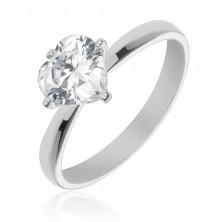 Srebrny pierścionek 925 - wystające, przeźroczyste cyrkoniowe serce