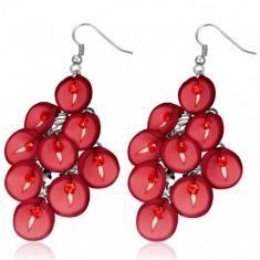 FIMO kolczyki - wisząca czerwona kiść kwiatów kala