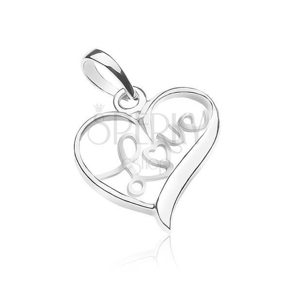 Wisiorek ze srebra 925 - napis LOVE wewnątrz serduszka
