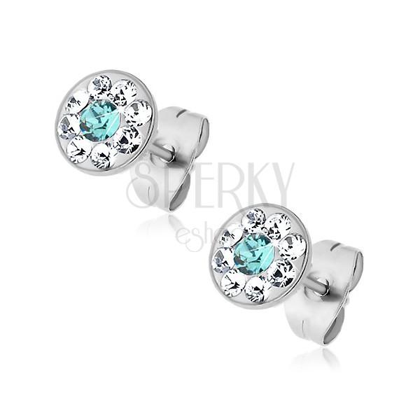 Stalowe kolczyki z jasnoniebieskim i bezbarwnymi kryształkami Swarovski, wkręty
