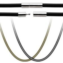Gumowy sznurek na wisiorek - zapięcie ze stali chirurgicznej