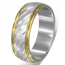 Dwukolorowy stalowy pierścionek - ukośne srebrne paski i złota obwódka