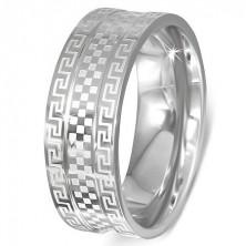 Stalowy pierścionek - obrączka z greckim kluczem i szachownicą