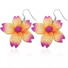 Kolczyki z masy FIMO - fioletowo-pomarańczowy nieregularny kwiatek