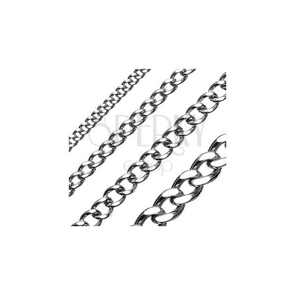Łańcuszek ze stali chirurgicznej, lśniące gładkie ogniwa o wyrównanej powierzchni