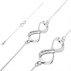 Srebrna bransoletka 925 - wstążka z cyrkoniami na łańcuszku