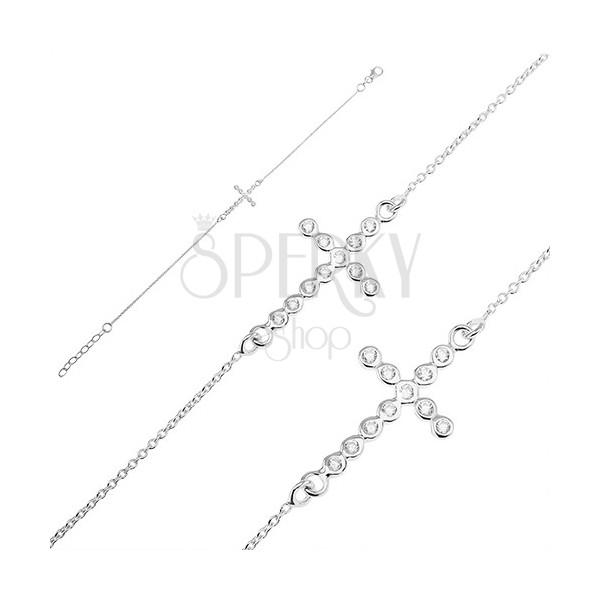 Srebrna bransoletka 925 - cyrkoniowy krzyż na łańcuszku