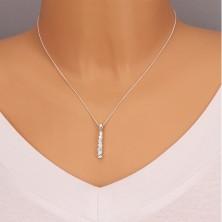 Naszyjnik - błyszcząca cyrkoniowa pałeczka, srebro 925