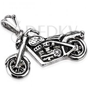 Stalowy wisiorek - patynowany motocykl srebrnego koloru