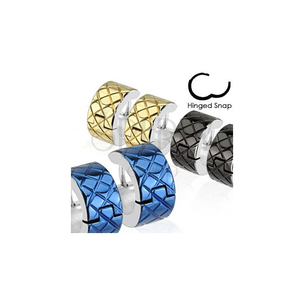 Kolczyki ze stali chirurgicznej - kolorowe koła o srebrnej krawędzi