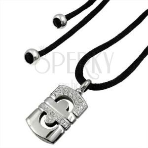Naszyjnik sznurkowy ze stalowym geometrycznym symbolem z małymi cyrkoniami