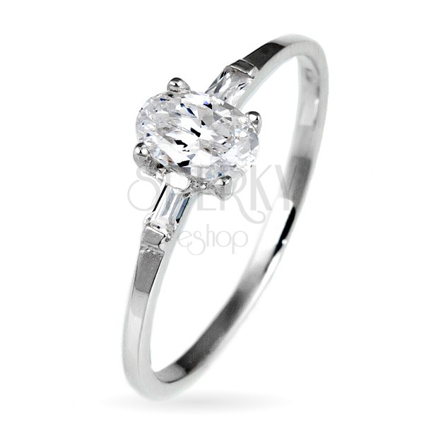 Srebrny pierścionek zaręczynowy 925 - owalna cyrkonia i dwie mniejsze po bokach