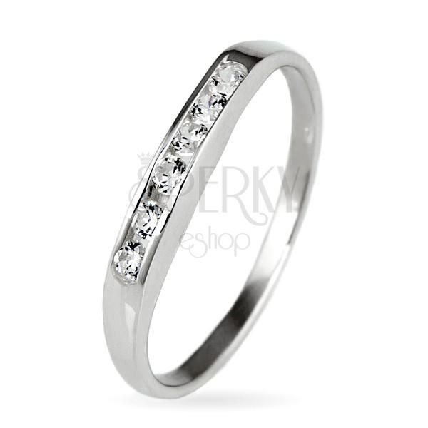 Srebrny pierścionek 925 - błyszcząca linia wysadzana cyrkoniami