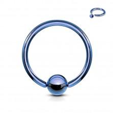Tytanowy piercing - kółko z błyszczącą kulką pośrodku