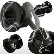 Tunel do ucha z akrylu, czarny z białym marmurowym wzorem